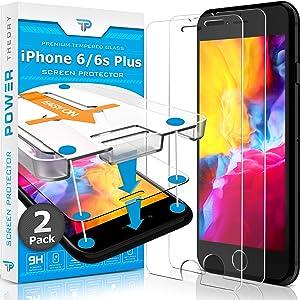 Power Theory Protector Pantalla Cristal Templado iPhone 6/6s Plus- (2 Unidades) Vidrio Ultrafino (0.33mm), Ultraresistente (9H Dureza) con Kit de Instalación sin Burbujas