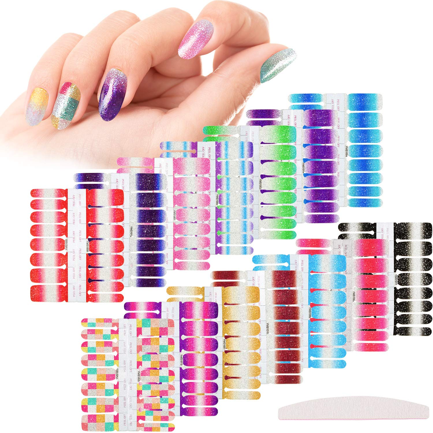 14 Sheets Glitter Nail Wraps Full Nail Art Polish Stickers Pure color Shine Nail Wrap Stickers Adhesive Nail Decals False Nail Design Gradient Glittery Manicure Kit with 1 Piece Nail File by Outus