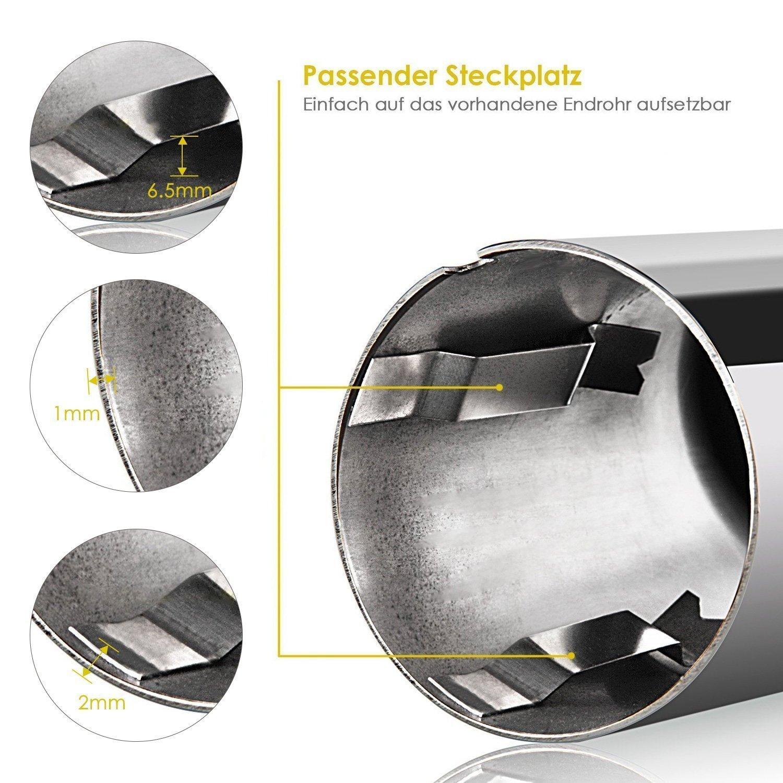 KT-Supply Auspuffblende Endrohr Edelstahl Auspuffanlage Auspuff Top Optik(2 St/ücke)