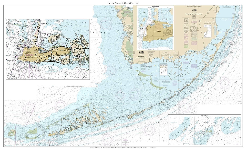 Nautical Map Of Florida Keys Amazon.com: Florida Keys 2014   Nautical Map Florida   Custom