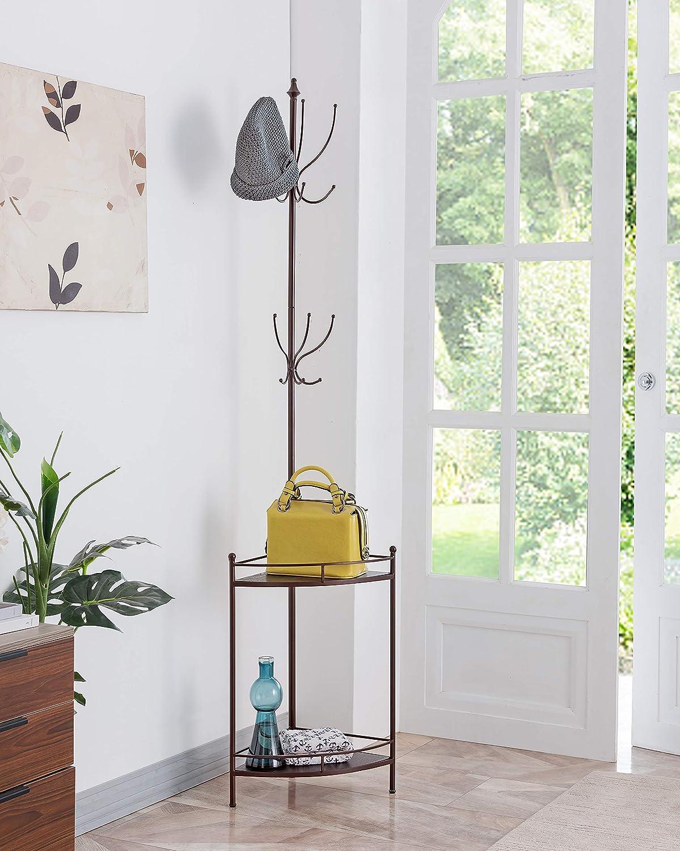 Kings Brand Furniture - Free Standing Metal Corner Coat & Hat Rack Stand, 12 Hooks 2 Shelves, Bronze