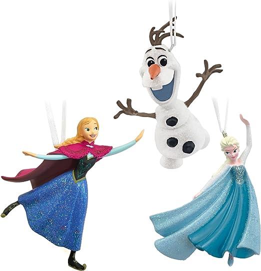 Set of 4 Hallmark Ornaments Frozen Elsa Anna Olaf Christmas Tree Lot 2015 NEW