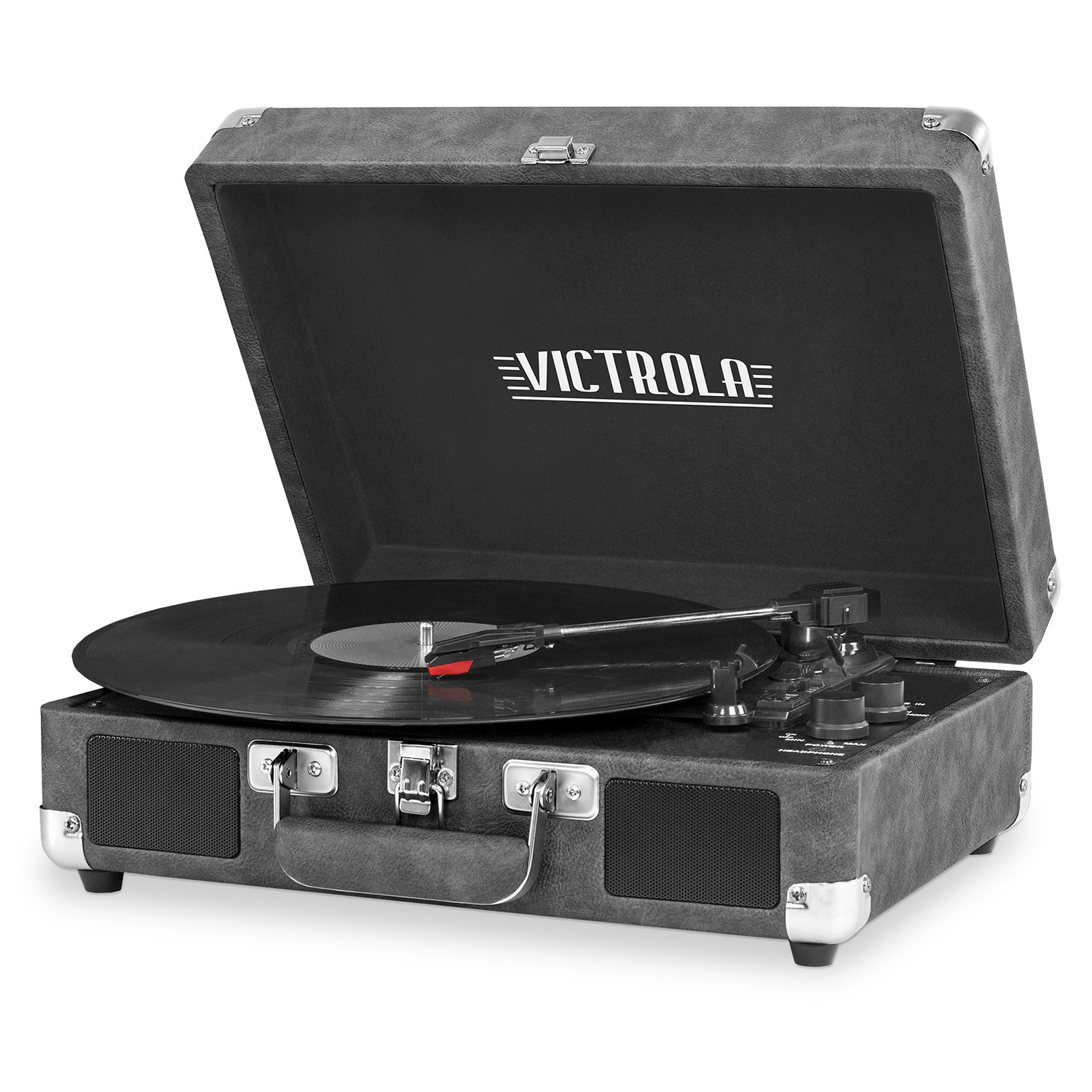 Victrola Vintage 3-Speed Bluetooth Suitcase Turntable Speakers, Cognac Innovative Technology VSC-550BT-CG