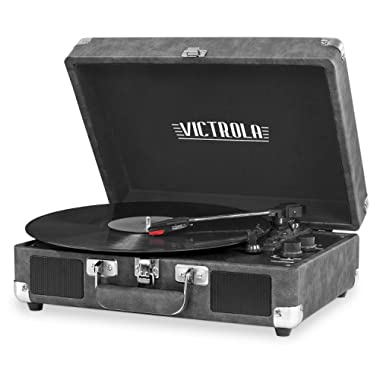 Victrola Vintage 3-Speed Bluetooth Suitcase Turntable with Speakers, Gray