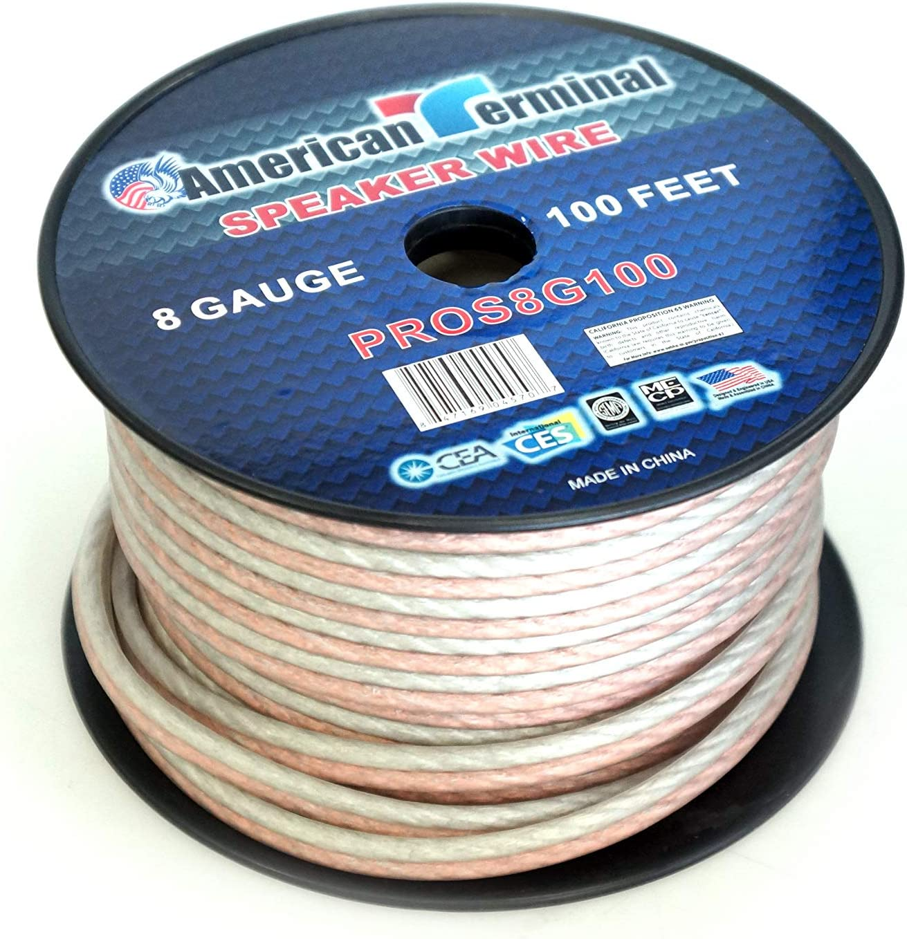 of 8 Gauge Pro Series Clear Speaker Wire American Terminal PROS8G100 100 ft