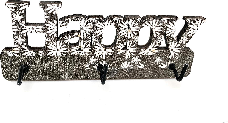 Colgador de Llaves de Pared para casa y Oficina Autoadhesivo Llavero de Pared Happy de Madera Panel Perchero Compacto con 3 Ganchos para Entrada 14 x 6 x 0,5 cm Ducomi