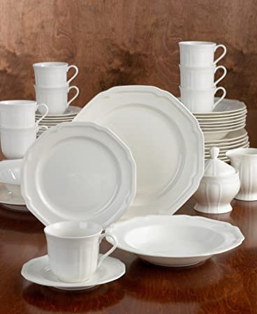 Amazon.com | Mikasa Antique White 45-Piece Dinnerware Set Service for 8 Dinnerware Sets : mikasa dinnerware sets - pezcame.com