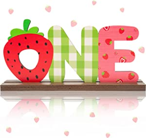 OSNIE Strawberry One Letter Sign Table Centerpieces Berry Sweet One Birthday Party Decorations for Baby Girls Summer Fruit Strawberry Theme 1st Birthday Milestone Baby Shower Cake Smash Photo Props
