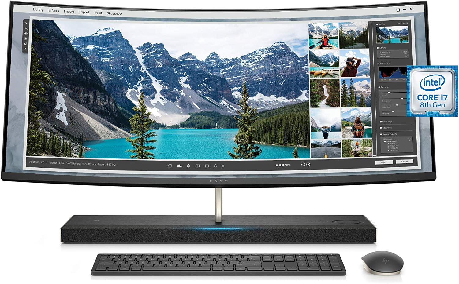 HP ENVY 34-inch Curved All-in-One Computer with Amazon Alexa, Intel Core i7-8700T, NVIDIA GeForce GTX 1050, 16 GB RAM, 1 TB hard drive, 256 GB SSD, Windows 10 (34-b110, Silver) - 3LB85AA#ABA