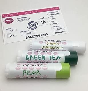 product image for World Flavors Lip Balm (Japan) Pack | Green Tea Pear Coconut Lemongrass | Beeswax Shea Cocoa Butter Jojoba Hemp Castor Oils Vitamin E | 3 tubes (4 grams each) in retro Suitcase Tin