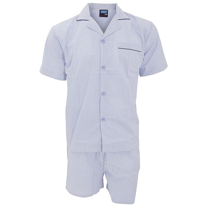 Conjunto de pijama estampado de camisa corta y pantalón corto hombre caballero (2XL/Azul