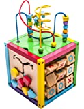 6-in-1 Play Cube Activity Center - Wood, 8""