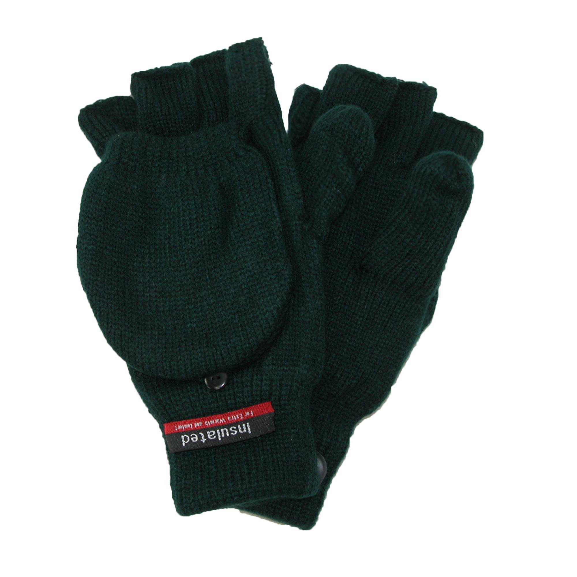 CTM Men's Knit Flip Top Insulated Gloves, Green