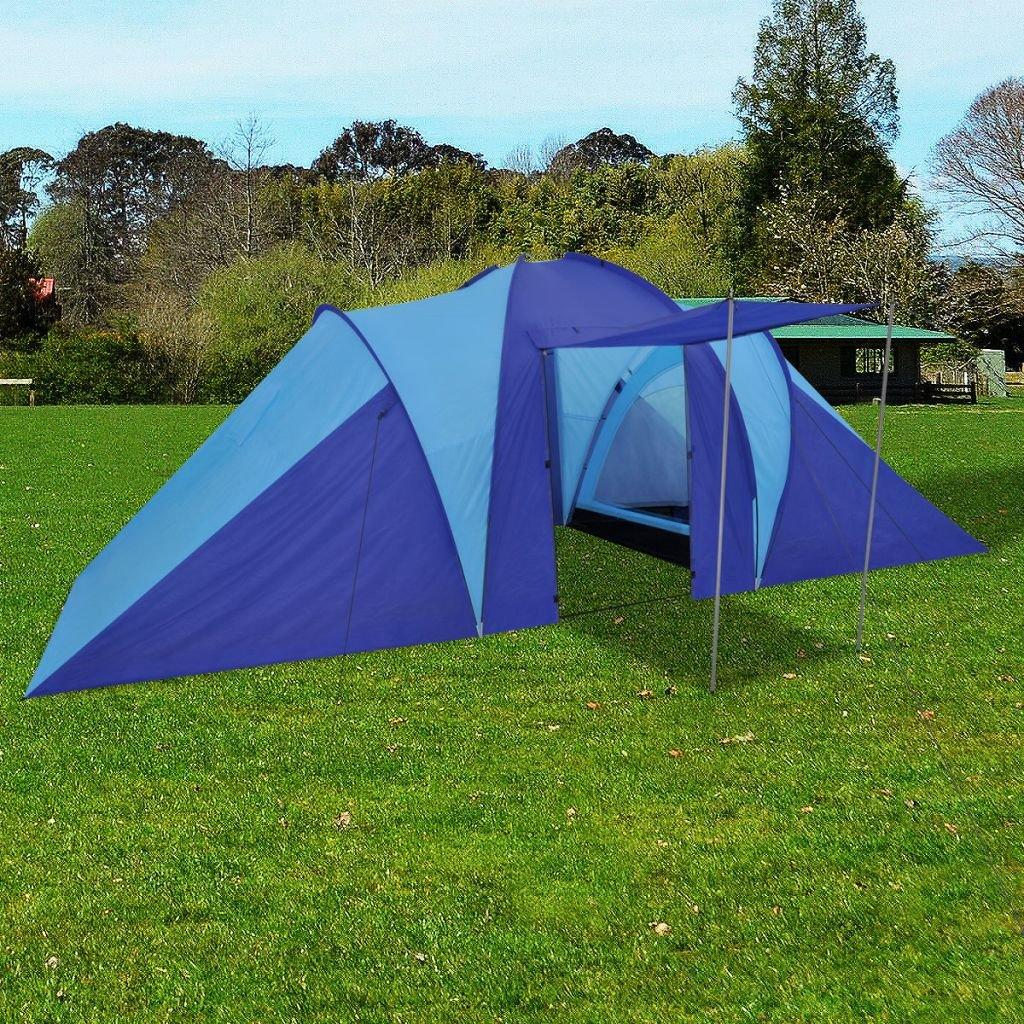 Zelt für 6 Personen Marineblau/Hellblau