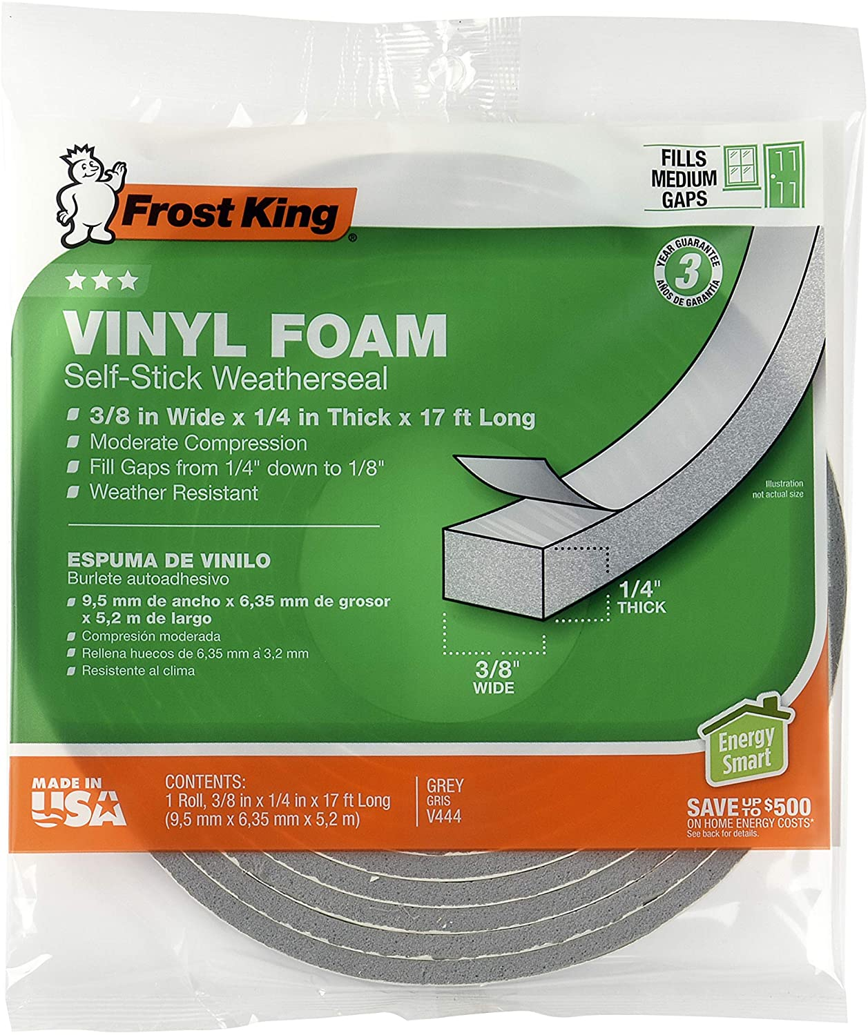 """Frost King Vinyl Foam Tape - Closed Cell - Moderate Compression, 3/4"""" W, 1/2"""" Thick, 10' L, Grey"""