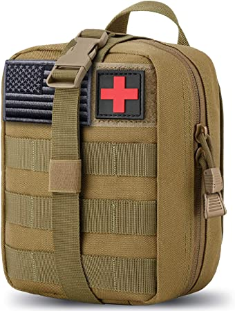 MEQI Medical MOLLE Tactical Pouch, EMT First Aid IFAK Rip-Away Utility Pouch with Flag and Cross Patch for Camping Hunting Hiking Home Car and Adventures