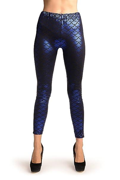 b621f79952a9 LissKiss Dark Blue Shiny Mermaid Scales Leggings - Leggings at ...