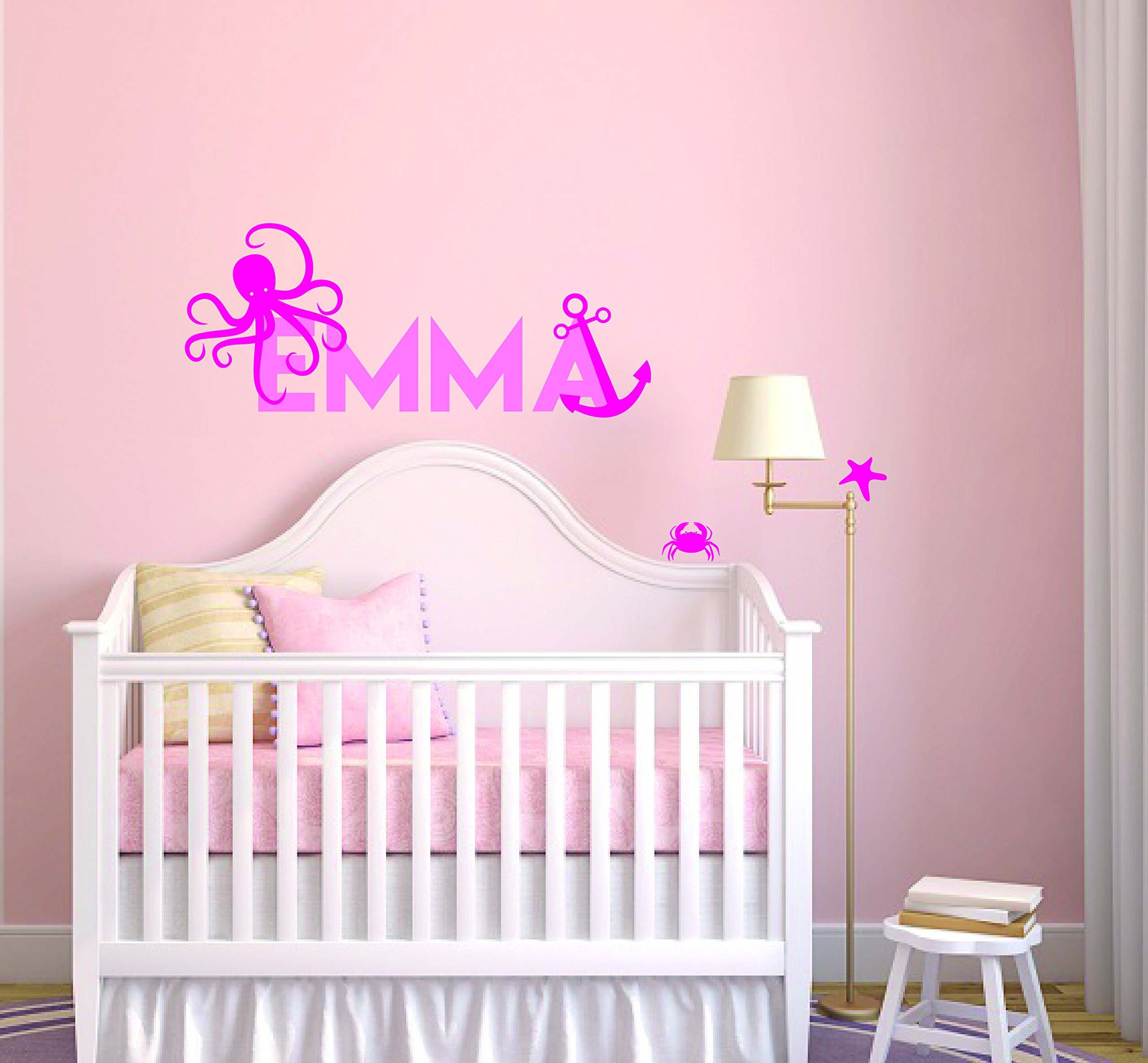 Custom Name Anchor Star Octopus And Crab Animal Series - Baby Boy/Girl Wall Decal Nursery For Home Bedroom Children (842) (Wide 32'' x 16'' Height)