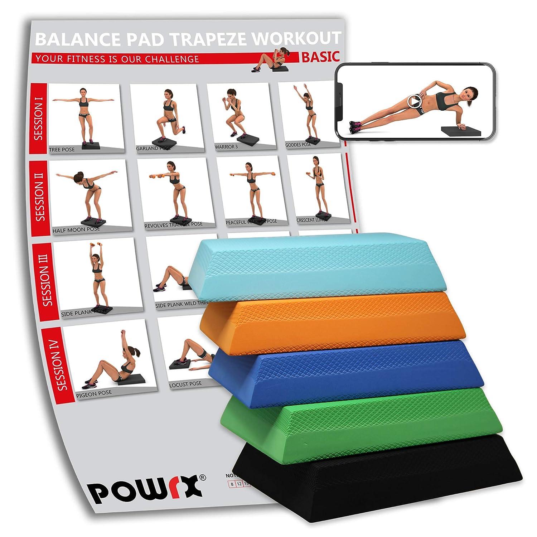 Farben POWRX Balance Pad Deluxe Trapez inkl Workout I Ganzk/örpertraining gelenkschonend f/ür Gleichgewicht Stabilit/ät Koordination I Hautfreundliches TPE I Versch
