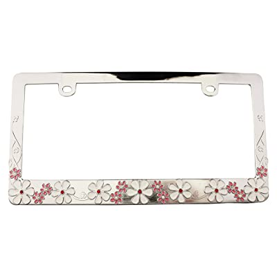 Custom Frames 92859 Multi Color Flowers with Bling License Plate Frame: Automotive