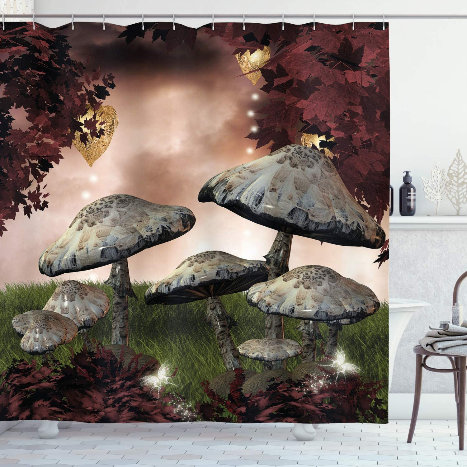 """Ambesonne Fantasy Shower Curtain, Enchanted Fairytale Forest Scenery with Mushrooms and Fairies Dark Image, Cloth Fabric Bathroom Decor Set with Hooks, 70"""" Long, Maroon Grey"""