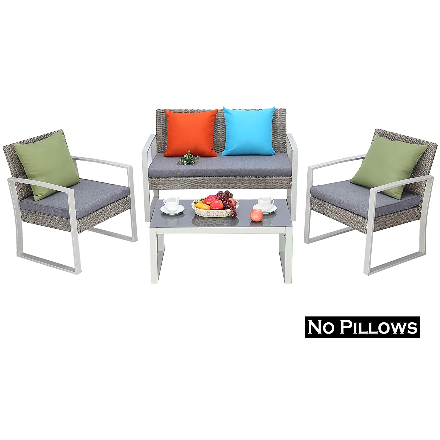Do4U 4 PCS Outdoor Patio Furniture Conversation Set Cushioned PE Wicker Bistro Table Set with Coffee Table Loveseat 2 Single Sofas, Durable Steel Garden Lawn Dining Set Rattan Chairs 9779-YLW
