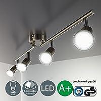 B.K.Licht Foco LED para techo I Lámpara de techo con focos redondos I incl. 4 x 3 W bombillas LED GU10 I lamparas de techo led I Luz de techo I Plafon I Lámpara de salón giratoria I IP20
