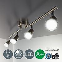 LED ceiling light rotatable I spotlight for kitchen, living room & bedroom I ceiling lamp I spots I warm white I metal I matte nickel design I 4 x 3 W illuminant I 230 V I GU10 I IP20 I Bulbs incl.