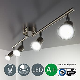 LED Deckenleuchte Schwenkbar Inkl. 4 X 3W Leuchtmittel GU10 IP20 LED  Strahler LED Deckenlampe LED