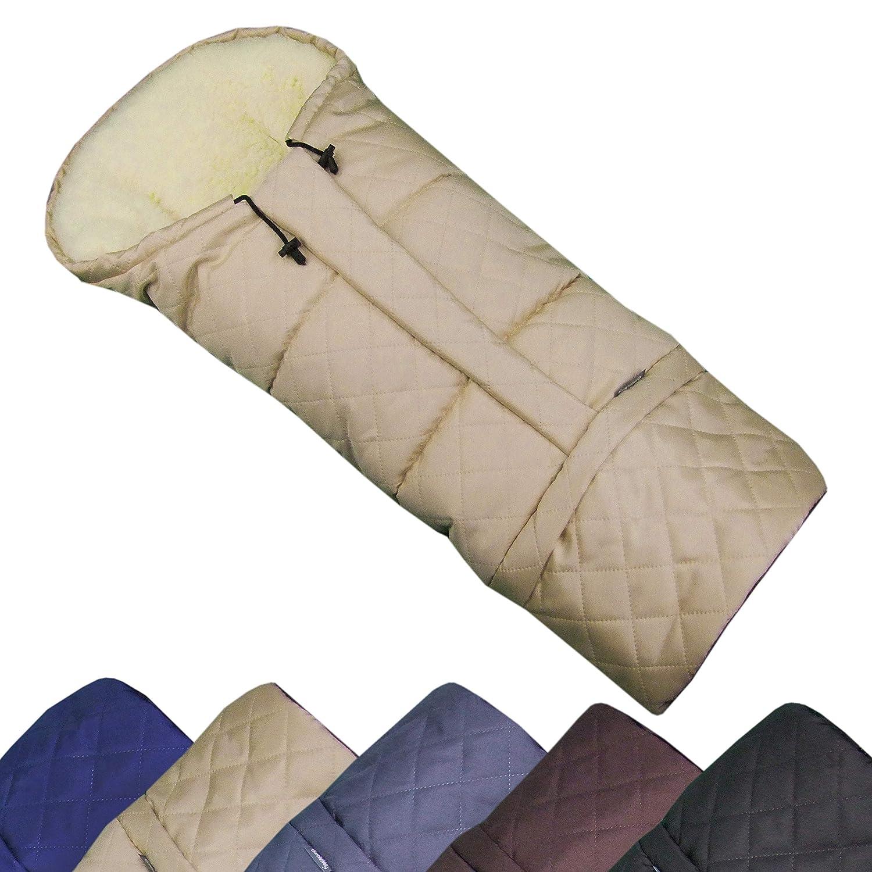 BAMBINIWELT Winterfusssack in Mumienform für Kinderwagen, Jogger, Buggy oder Schlitten, aus Wolle, Größe anpassbar, MUMIE RAUTE (beige) Größe anpassbar