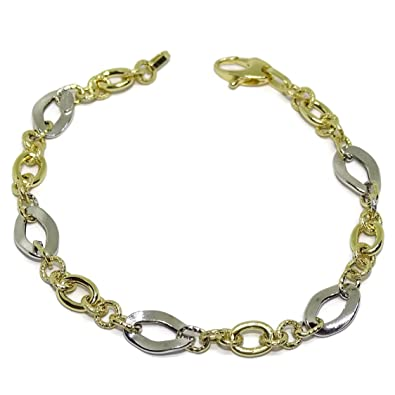 Bracelet Yellow Gold and White Gold 18 ktes Links. 19 cm Never Say Never Xr5oW