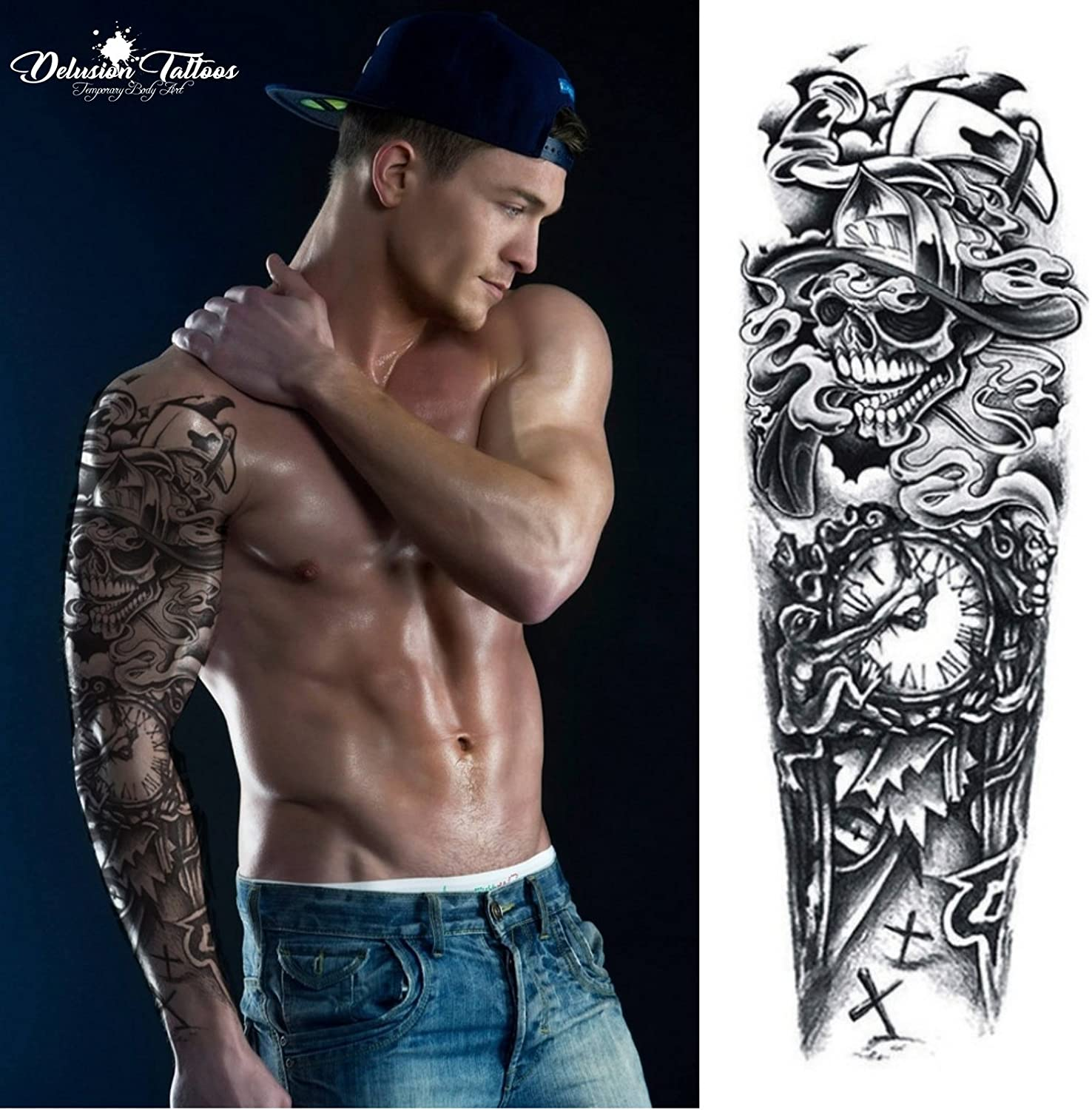 Temporary Tattoo Sleeve Realistic Transfer Sticker Death Skull Clock Fireman Axe Arm Leg Black Mens Womens Kids Waterproof Amazon Co Uk Beauty