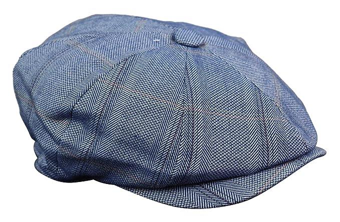 0e2ef4da1a2d Mens 8 Panel Button Hat Flat Cap Newsboy Baker Boy Check Hat Tweed Peaky  Blinders: Amazon.co.uk: Clothing