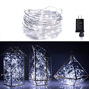 100 LED Fairy Lights 32 Ft Firefly String Lights Waterproof Starry Lights on Silver Coated Copper Wire Perfect for Christmas Party DIY Wedding Bedroom Indoor Party Decorations Pure White
