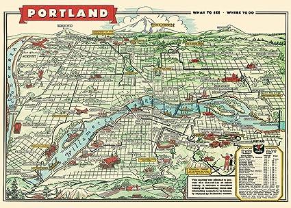 Amazon.com: Cavallini & Co. Portland Map Decorative Paper Sheet