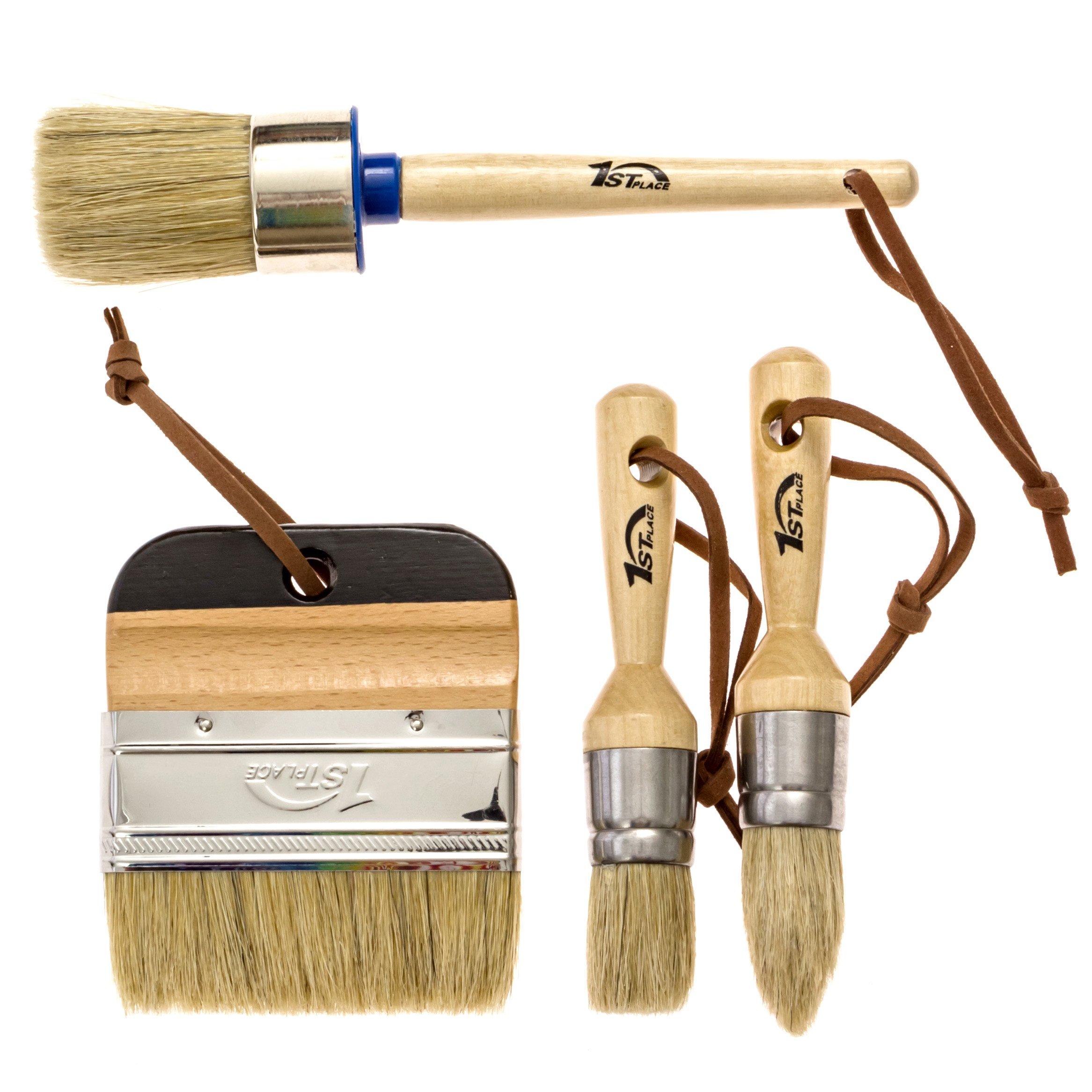 1st Place Ultra Chalk Paint & Wax 4 Piece Natural Bristle Brush Set - Annie Sloan Quality