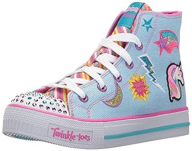 Skechers Kids Girls Shuffles-Twist NTurns Sneaker,denim/multi,