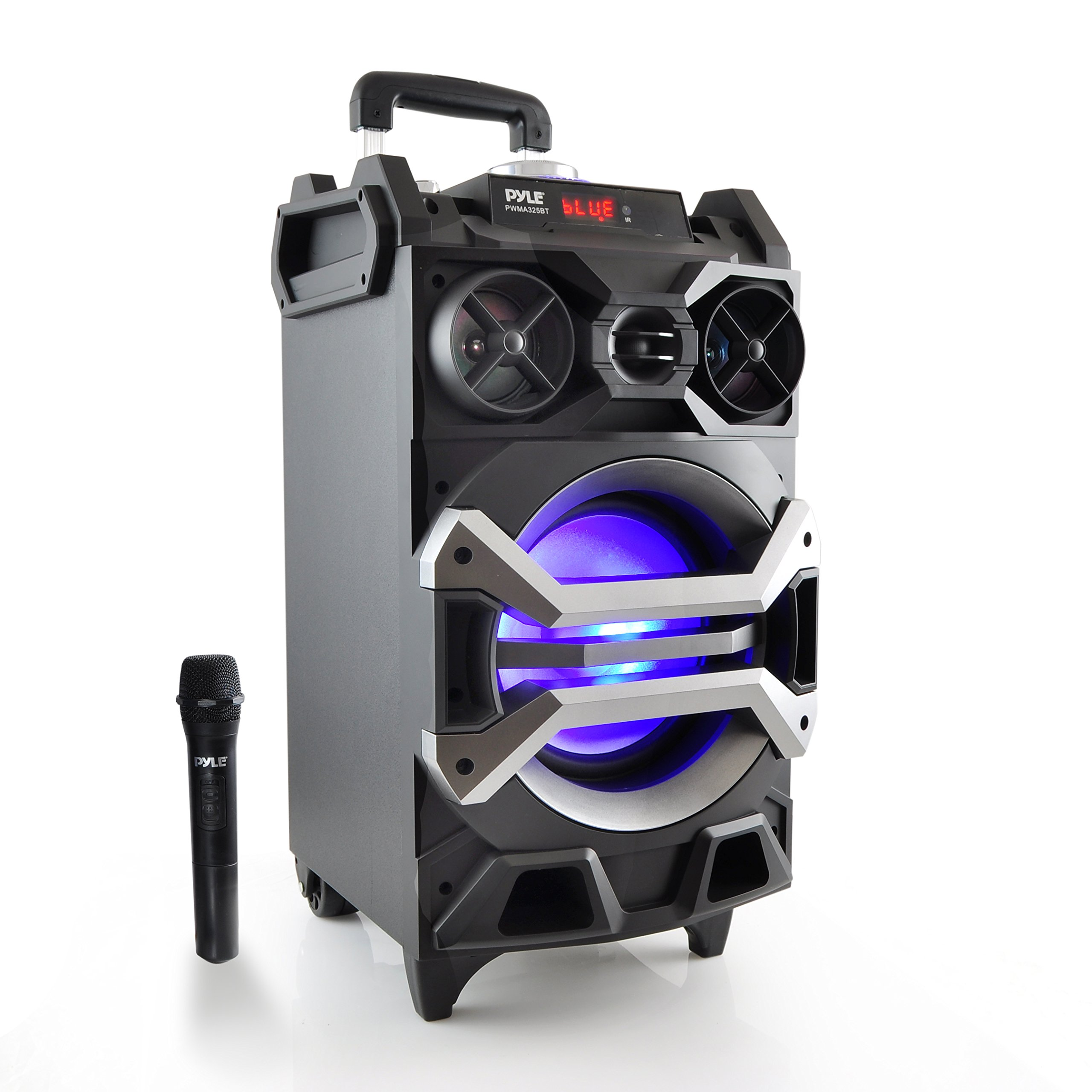 Pyle 500 Watt Outdoor Portable Bluetooth Karaoke Speaker System - PA Stereo with 8'' Subwoofer, DJ Lights Rechargeable Battery Wireless Microphone, Recording Ability, MP3/USB/SD/FM Radio - PWMA325BT by Pyle