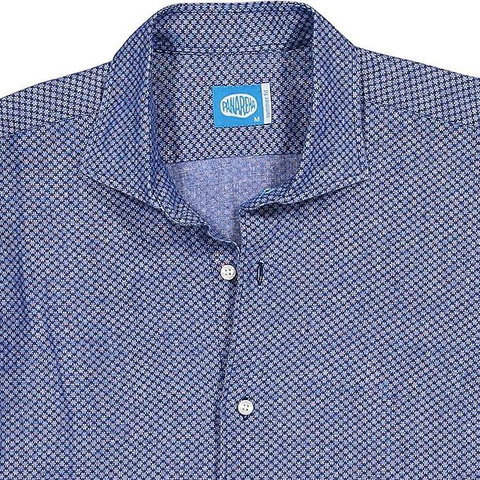 detailing ceab8 e79e0 Panareha Camicia di Lino Fiori da Uomo MO'OREA Blu: Amazon ...