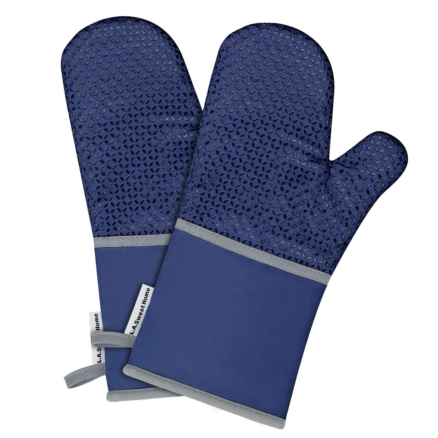 L.A. Sweet Home 14 Inch Silicone Oven Mitts Solid Printed Pattern Heat Resistant Potholders Cooking Gloves Non-Slip Barbecue Gloves