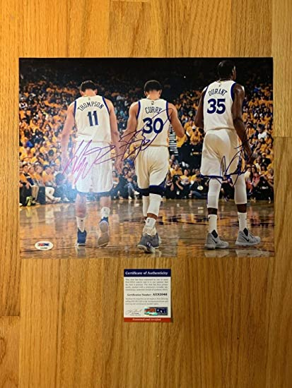 1582cf1cde8 Image Unavailable. Image not available for. Color  Stephen Curry Klay  Thompson And Kevin Durant Autographed Signed Memorabilia ...