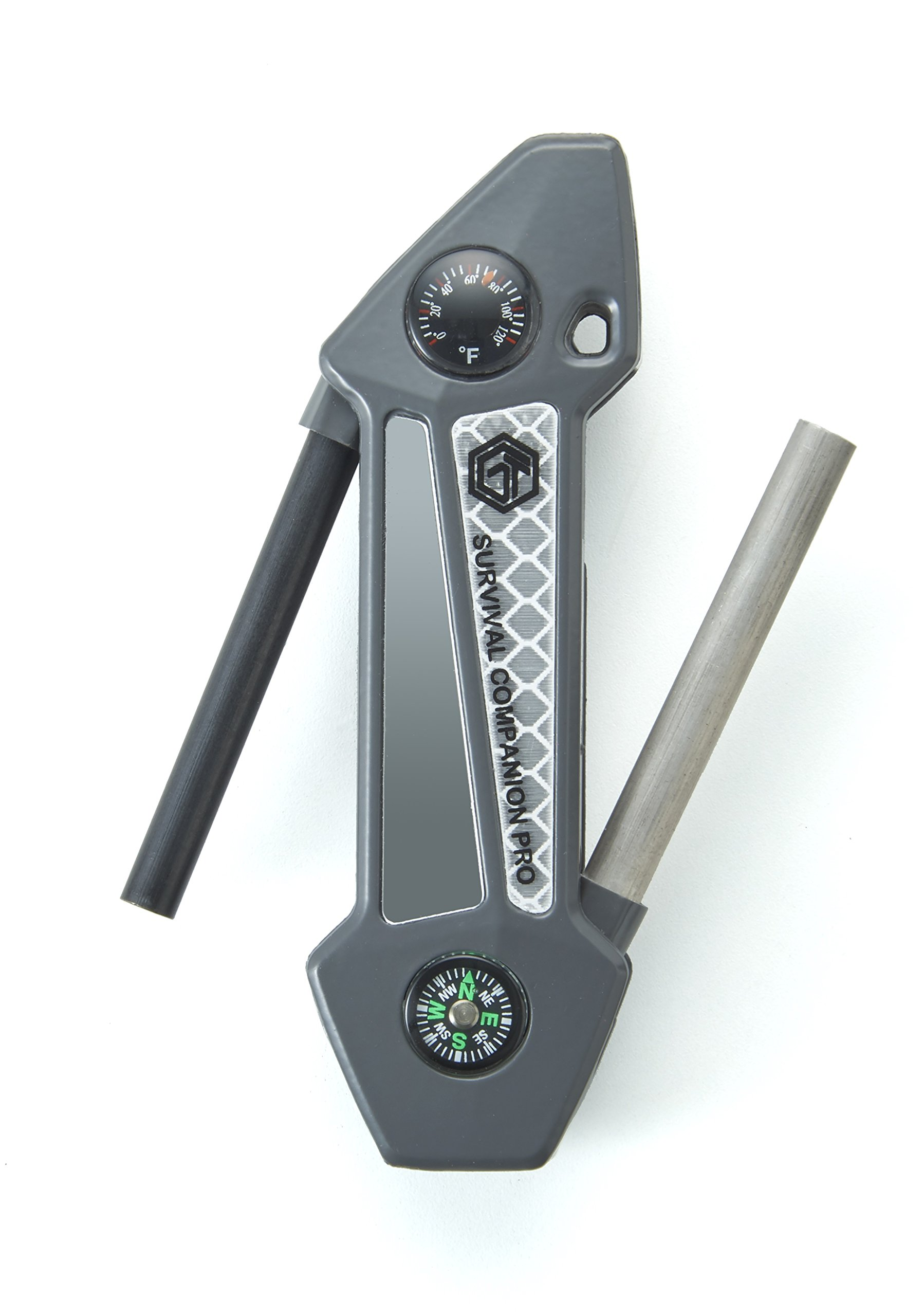 Off Grid Tools Survival Companion Pro Aluminum Fire Starter & Camping Multi Tool, Gun Metal Grey