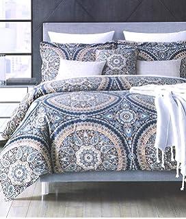 envogue bohemian paisley large magical indian tapestry mosaik medallions print duvet cover 3pc set navy bleu