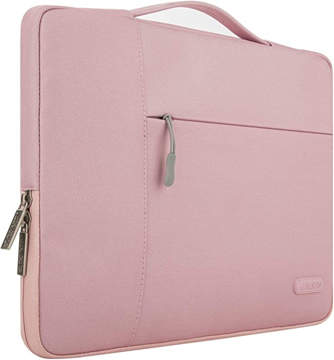 MOSISO Laptop Sleeve Compatible with MacBook Pro 16 inch, 15 15.4 15.6 inch Dell Lenovo HP Asus Acer Samsung Sony Chromebook,Polyester Multifunctional Briefcase Carrying Bag, Pink