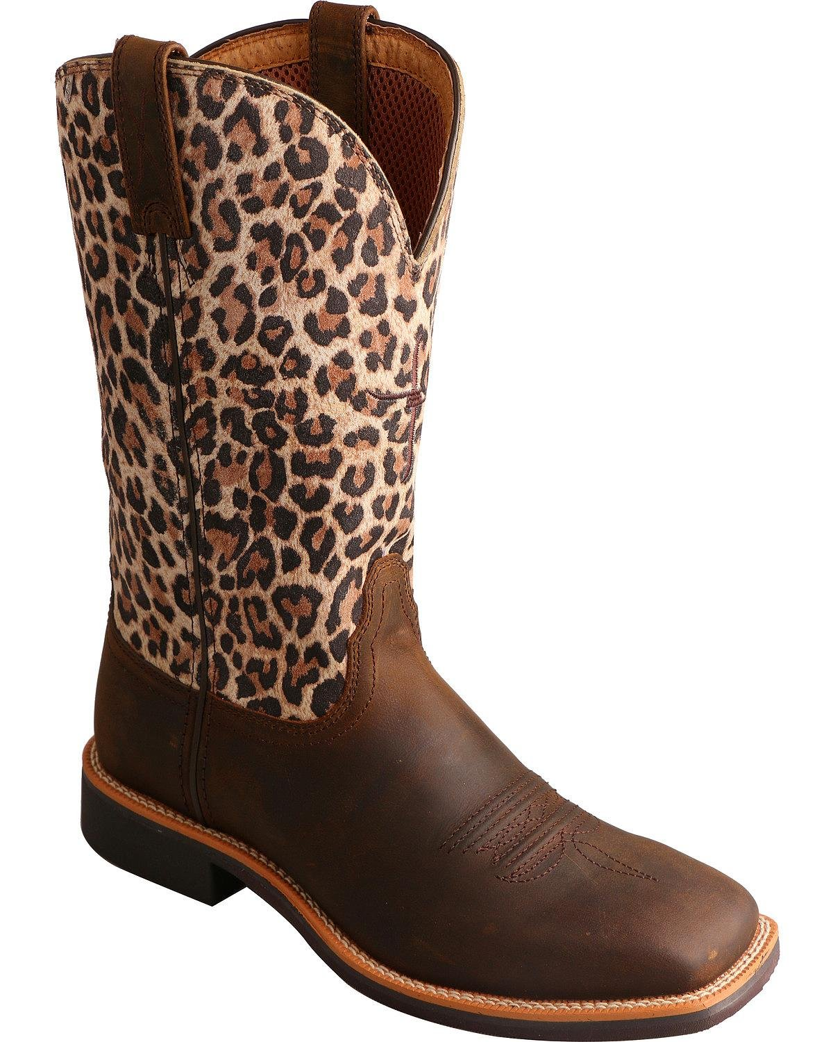 Twisted X Women's Leopard Top Hand Cowgirl Boot Square Toe Brown 9 M US