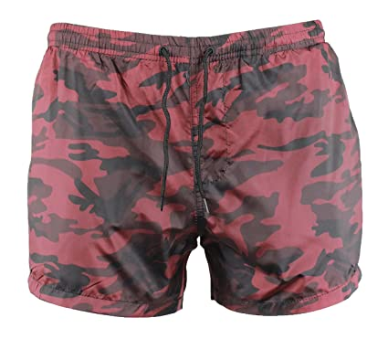 5dc5e5812e Image Unavailable. Image not available for. Colour: Brave Soul Mens 'Regal'  Red Camo Print Mesh Swim Swimming Shorts ...