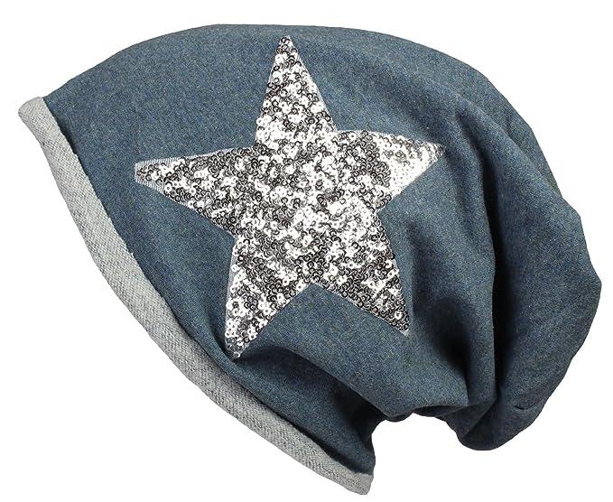 2Store24 Gorra larga Jersey con lentejuelas y orilla enrollable/Damas / Gorra Caballeros en azul