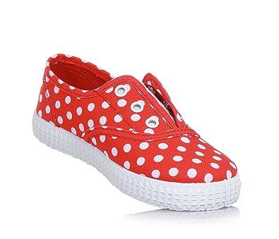 Cienta Roter Schuh mit Weißem Tupfen-Muster, Made in Spain, auf der Vorderseite Ein elastischer Einsatz, Mädchen-28
