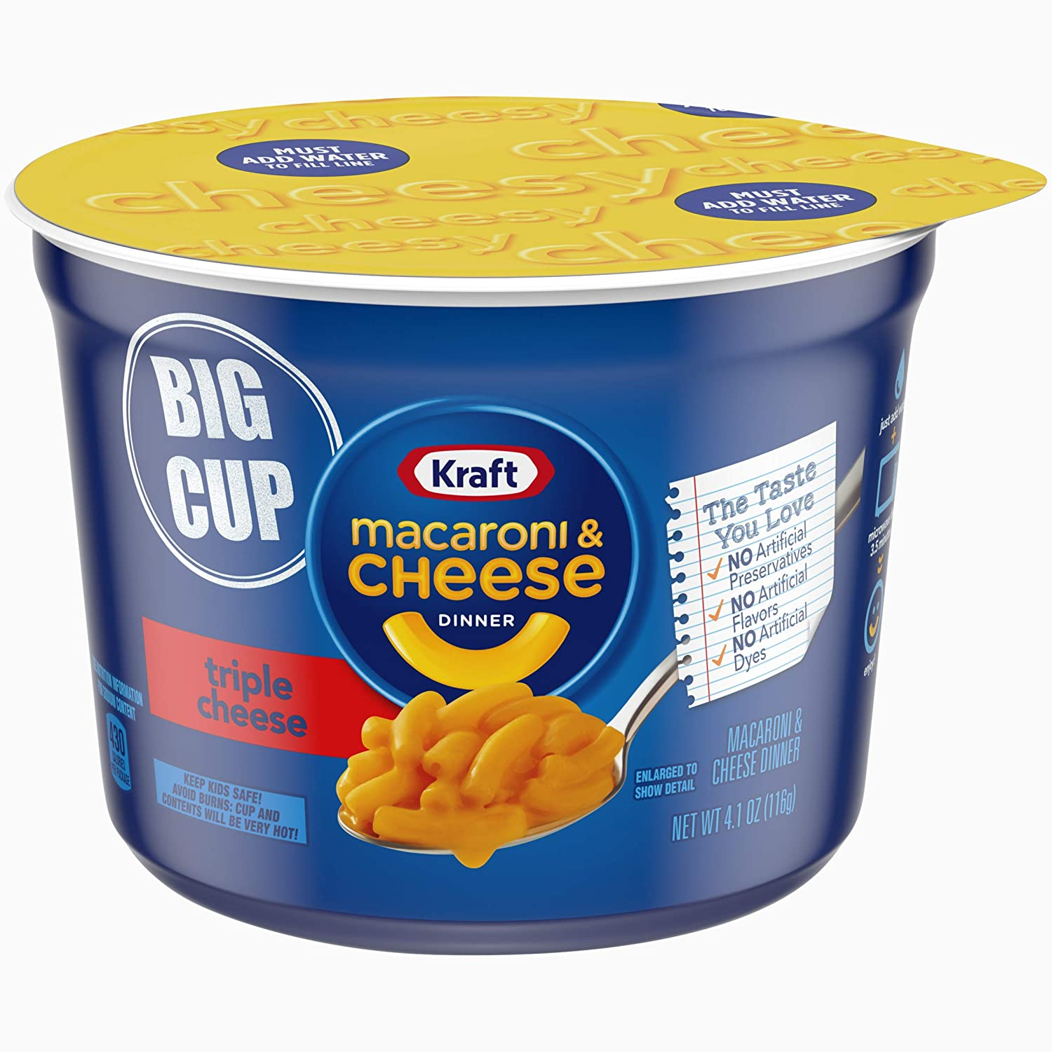 Kraft Easy Mac Triple Cheese Mac & Cheese Dinner (4.1 oz Cups, Pack of 8)