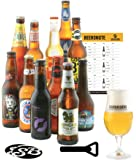 Saveur Bière - Coffret Autour Du Monde - Pack de 11 bières (33 à 37,5 cl) et 1 verre de 25 cl - Idée cadeau expérience